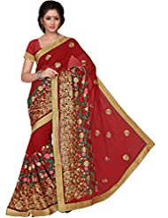 Suchi Fashion Maroon Multi Color Embroidery Georgette Party Wear Saree