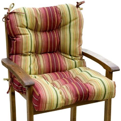 Greendale Home Fashions Outdoor Seat/Back Chair Cushion, Kinnabari Stripe