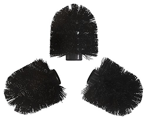 Toilet Brush Replacement Heads - 3 Piece Set - Black (Toilet Brush Head Replacement compare prices)