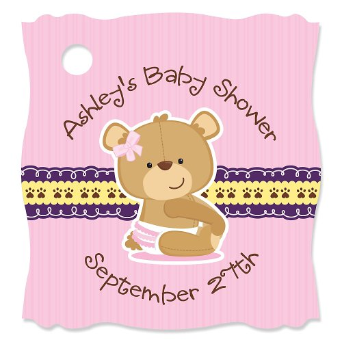 Baby Girl Teddy Bear - 20 Personalized Baby Shower Die-Cut Card Stock Tags front-705208