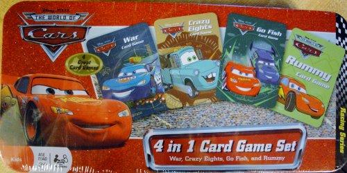 Disney Pixar THE WORLD OF CARS 3 Card Games Tin Box Set- WAR, CRAZY EIGHTS and Go Fish