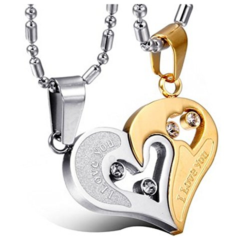 Lovers Heart I Love You Engraved Crystal Studded Joining Two Piece Couple Pendant Pair for Girls and Boys by YELLOW CHIMES