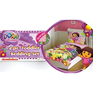 Dora Toddler Bedding Set - Dora The Explorer and Boots 4pc Toddler