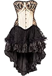 Ivory Overbust Corset with Lace Detail with Skirt