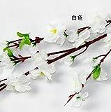 5PCS Peach blossom Simulation Flowers Wedding Bouquet Artificial Flowers Silk flower Decorative Flowers Wreaths Home Decoration (White)