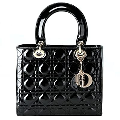 Fineplus Women's Diamond Texture Lattice Lady Handbags Large Black
