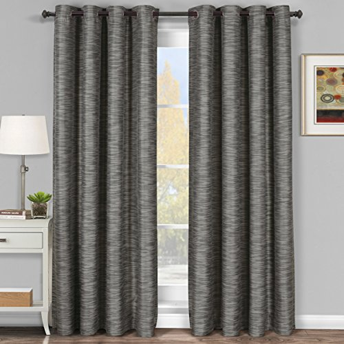 Pair of Two Top Grommet Blackout Thermal Insulated Curtain Panels, Elegant and Contemporary Galleria Tonal Stripes Blackout Panels, Gray, Set of Two 54
