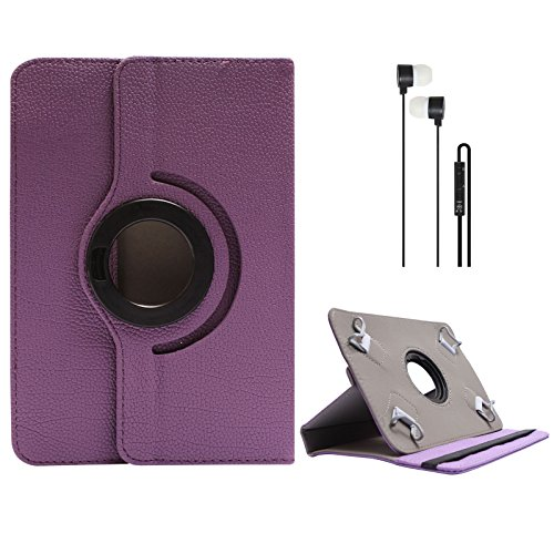 DMG Portable Foldable Stand Holder Cover Case For Lenovo A3500 (Purple) + Blue Stereo Earphone With Mic And Volume...