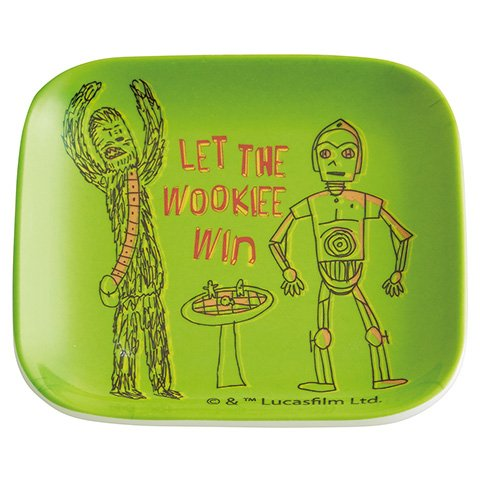 Japan Disney Official Star Wars the Force Awakens - Let the Wookie Win Adorable Green Dinner Plate with C-3PO Flat Square Shape Melamine Dinnerware Wonderful Gift (Black Stripe Dinner Plates)