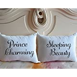 Cukudy ® Prince Charming and Sleeping Beauty Couple Pillow Covers Cotton Polyester Set of 2