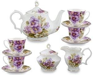 Gracie Bone China 11-Piece Tea Set, Purple Pansy by Gracie Bone China Coastline Imports