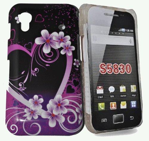 Telefono negozio - Custodia rigida ibrida fiore viola per samsung galaxy ace s5830