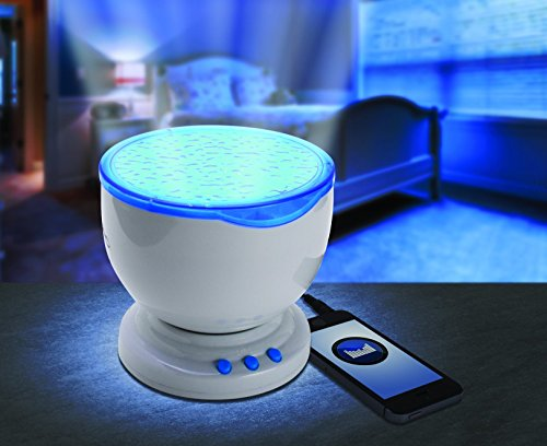Ocean Wave Nightlight LED Light Projector With Built In Music Player For Adults And Kids - 4 Multi Color Modes (Blue Mood Light compare prices)