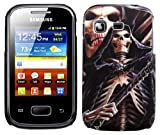 Cellmax Samsung Galaxy Pocket S5300 Hard Shell Back Protection Case Cover With Skelton Skull Pattern Skin Clip On Protection