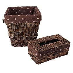 HOKIPO Wicker Multi-Utility Storage Basket & Tissue Box Set with Removable Washable Cloth - Decorative Household Utilities