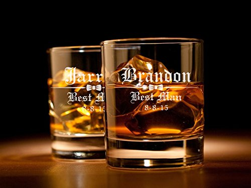 Engraved Rocks Whiskey Glass Wedding Bow Tie Custom Personalized (Personalized Rocks Glasses compare prices)
