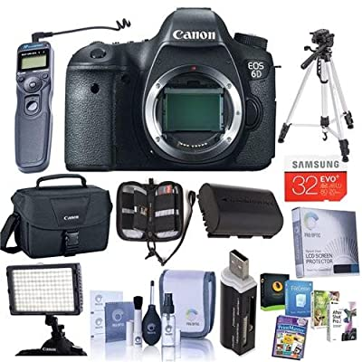 Canon EOS-6D Digital SLR Camera Body, 20.2 Megapixel - Bundle - with 32GB SDHC Class 10 Memory Card, Spare LP-E6 Battery, Glass LCD Screen Protector, Cleaning Kit, Slinger 200 Carrying Case, SD Card Case, Sunpack Flexpod Pro Gripper, Memory Wallet