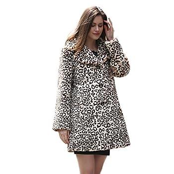 Adelaqueen Women's Elegant Vintage Leopard Print Lapel Faux Fur Coat Mid-Length
