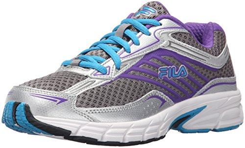 Fila Women's Xtenuate Running Shoe, Dark Silver/Metallic Silver/Atomic Blue, 8 M US