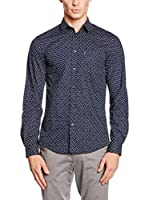 Ben Sherman Camisa Hombre Ls Square Scatter Print (Azul Marino)