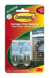 Command Outdoor Window Hooks, Medium, Clear, 2-Hooks, 4-Pack