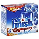 Finish Automatic Dishwasher Detergent, Gelpacs, Orange Scent, 20 ct.