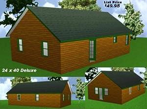 Amazon.com: 24x40 Deluxe Cabin Plans Package, Blueprints, Material ...