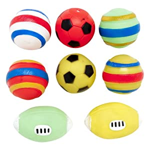 Regent Products 66828P Vinyl Sport Ball with Squeaker Dog Toy, 4-Pack