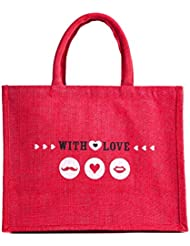 """WMM Craft Velentine Special Collection, Small/mini Jute Gift Bag, With Happy Valentine Quote, Print, 8""""x8""""x5.5..."""