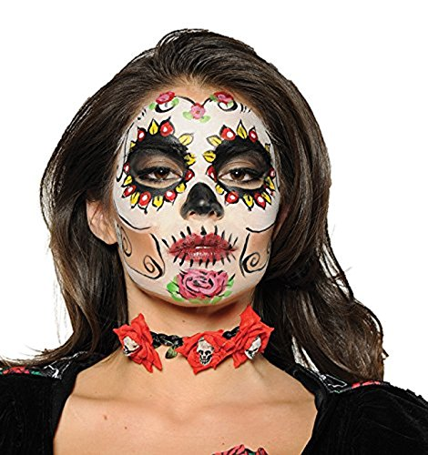 Underwraps Day Of The Dead Red Rose Sugar Skull Choker Necklace One Size