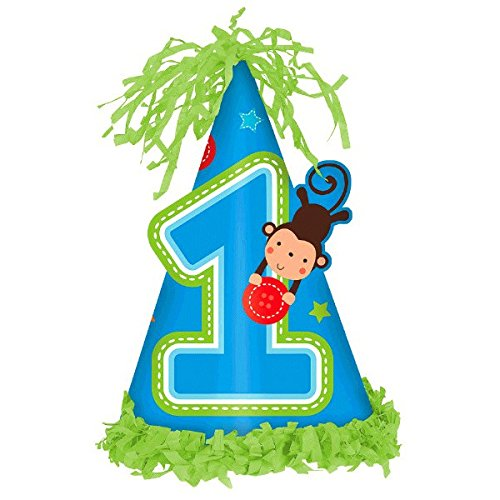 Amscan One Wild Boy 1st Birthday Fringed Party Cone Hat 7