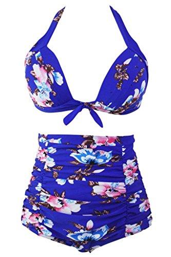 FARYSAYS Floral Print Royal Blue High Waist Bikini Swimsuit Medium