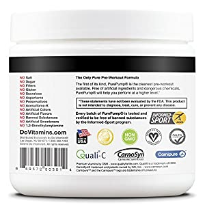 PurePump - Natural Pre-Workout Supplement - Certified Paleo, Certified Vegan, Non-GMO - No Artificial Sweeteners, Colors, or Flavors
