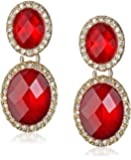 """Anne Klein """"Merry and Bright"""" Gold-Tone, Ruby Red and Pave Post Drop Earrings"""