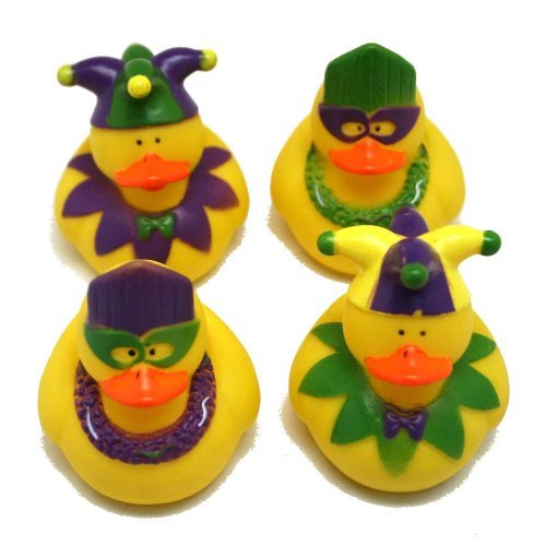 One Dozen (12) Mardi Gras Rubber Ducky Party Favors