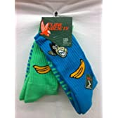 Flow Society Authentic Lacrosse Gear Socks Monkey Banana One Turquoise, One Lime Green pair (This is a pack of 2 pairs of socks.) Size Medium Fits Shoe 4-8.5