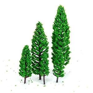 10Pcs 1.9 inch - 6.3 inch Green Train Set Scenery Landscape Model Tree Scale 1/50