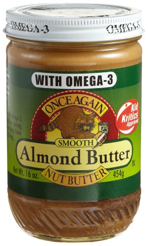 Once Again Nut Butter with Omega-3, Natural Smooth Almond Butter, 16-Ounce Glass Jars (Pack of 6)