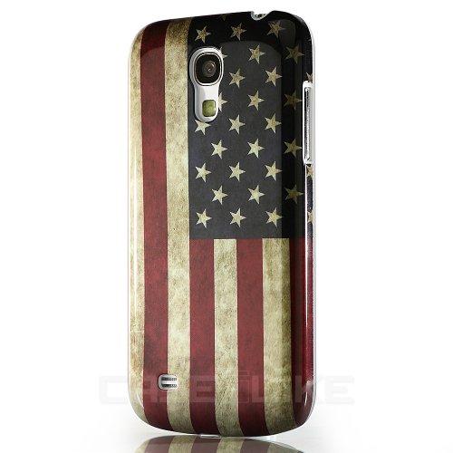CaseiLike ® USA American Flag retrò Vintage, Snap-on duro indietro cover per Samsung Galaxy S4 Mini i9190 con Screen Protector