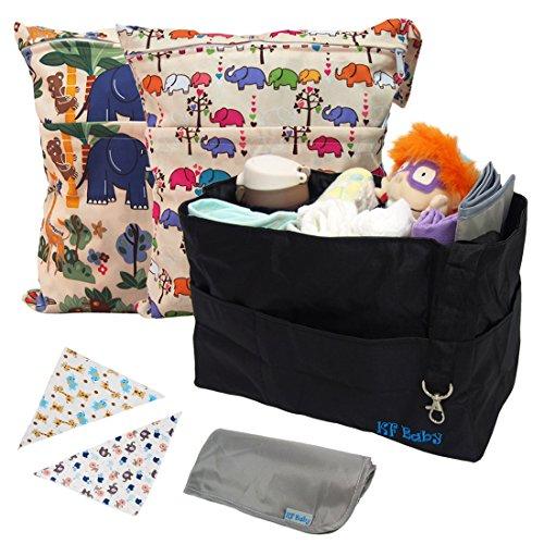 KF Baby - Cesta organizer per pannolini + set di bandane a bavaglino e borse impermeabili