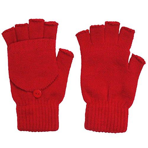 Unisex Winter Flip Top Exposed Fingers Acrylic Fingerless Gloves