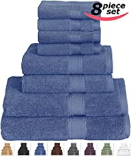 8 Piece Towel Set (Blue) 2 Bath Towel…