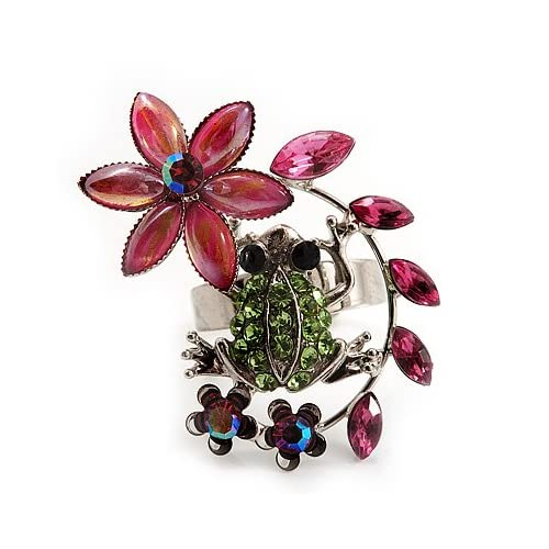 Funky Green Crystal Frog With Flowers Ring (Silver Metal Finish)   Adjustable Size 7/8
