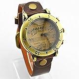 アンティーク風 音符 & 五線譜 腕時計 (ブラウン)