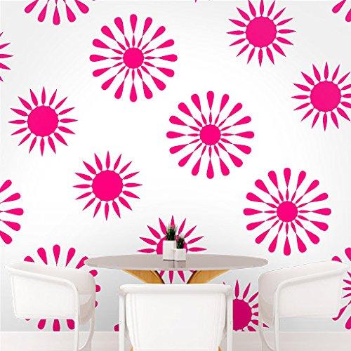DeStudio Floral Tile Chalkboard Wall Decal, Size MEDIUM & Color : PINK