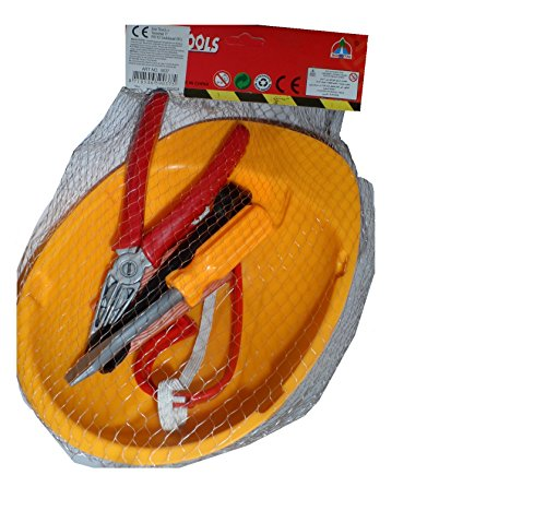 Werkzeugset + Helm - Bauarbeiterhelm für Kinder, Bauhelm, im Netz ca. 30x18cm