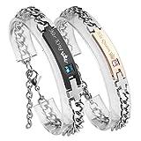 ?VALENTINES GIFTS? PiercingJ Stainless Steel CZ Love for Men Women Couple Bracelet Link Chain Wrist Bangles Gift Set for Lover