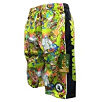 Mesh Lax Shorts Performance Flow World Green with many characters Size Youth