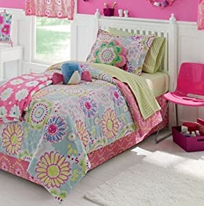 Amazon Com Adorable Pink Blue Green Yellow Flower Twin