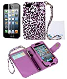 The Friendly Swede (TM) PU Leather Folio Wallet Case Cover for iPhone 5 5s + Matching Stylus + Screen Protector + Cleaning Cloth in Retail Packaging (Purple Leopard)